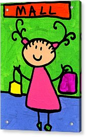 Happi Arti 5 - Shopaholic Little Girl Art Acrylic Print by Sharon Cummings