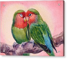Happiness Forever Lovebirds Acrylic Print