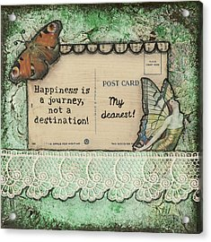 Happiness Is A Journey Inspirational Mixed Media Folk Art Acrylic Print by Stanka Vukelic