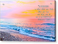 Happiness Quote Mahatma Gandhi  Acrylic Print