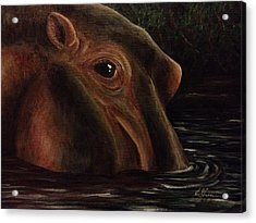 Happy As A Hippo Acrylic Print by K Simmons Luna