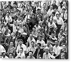 Happy Baseball Fans In The Bleachers At Yankee Stadium. Acrylic Print