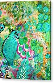 Happy Bird In Aqua Acrylic Print by Anne-Elizabeth Whiteway