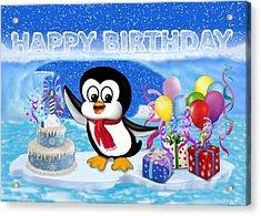 Happy Birthday Penguin Acrylic Print
