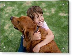 Happy Boy With A Beautiful Dog Acrylic Print by Andresr