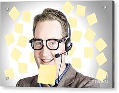 Happy Business Man Wearing Helpdesk Headset Acrylic Print by Jorgo Photography - Wall Art Gallery