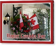Happy Canada Day Floral Acrylic Print