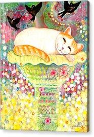 Catbird Dreamin Acrylic Print by Deborah Burow