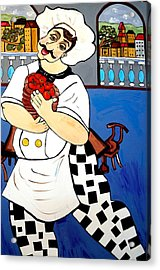 Acrylic Print featuring the painting Chef  Happy Chef by Nora Shepley