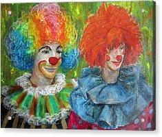 Acrylic Print featuring the painting Gemini Clowns by Jieming Wang