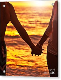 Happy Couple Holding Hands  Acrylic Print by Anna Om
