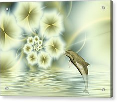 Happy Dolphin In A Surreal World Acrylic Print