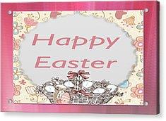 Happy Easter Basket Acrylic Print by Debra     Vatalaro