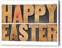 Happy Easter In Wood Type Acrylic Print