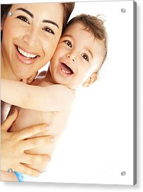 Happy Family Laughing Faces Acrylic Print by Anna Om