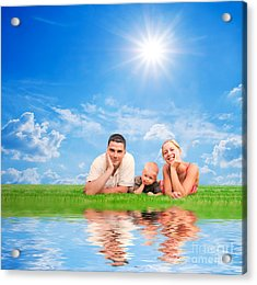 Happy Family Together On Grass Acrylic Print by Michal Bednarek