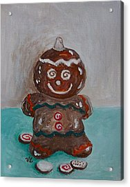 Happy Gingerbread Man Acrylic Print