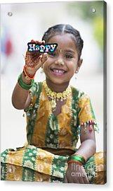 Happy Girl Acrylic Print by Tim Gainey