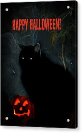 Happy Halloween Black Cat Acrylic Print by Michelle Frizzell-Thompson