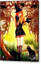 Happy Halloween Cute Witch Acrylic Print