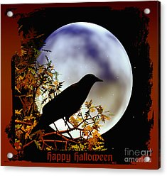 Happy Halloween Moon And Crow Acrylic Print by Eva Thomas