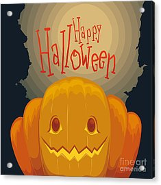 Happy Halloween Pumpkin Poster With Acrylic Print