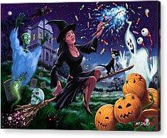 Happy Halloween Witch With Graveyard Friends Acrylic Print