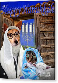 Acrylic Print featuring the digital art Happy Hanukkah -1 by Kathy Tarochione