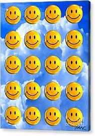 Happy Happy Sunshine Day Bubble Smile Smiley Poster Print Original Signed Art Acrylic Print