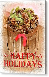 Acrylic Print featuring the photograph Happy Holiday Barrel by Cristophers Dream Artistry