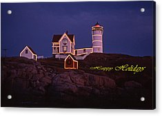Happy Holidays At Nubble Acrylic Print by Skip Willits