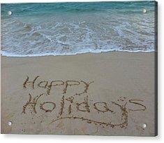Happy Holidays Beach Messages Acrylic Print