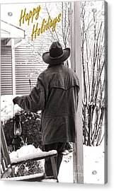 Happy Holidays Cowboy Acrylic Print by Olivier Le Queinec