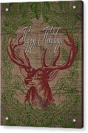 Happy Holidays Deer Acrylic Print by South Social Studio