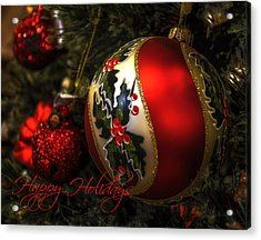 Happy Holidays Greeting Card Acrylic Print by Julie Palencia