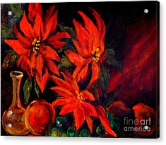 New Orleans Red Poinsettia Oil Painting Acrylic Print