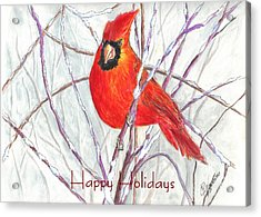 Happy Holidays Snow Cardinal Acrylic Print