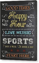 Acrylic Print featuring the digital art Happy Hour by Jaime Friedman