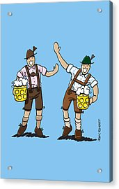 Happy Lederhosen Men With Beer Stein Acrylic Print