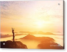Happy Man With Hands Up On The Top Of The World Above Clouds Acrylic Print