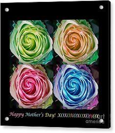 Happy Mothers Day Hugs Kisses And Colorful Rose Spirals Acrylic Print by James BO  Insogna