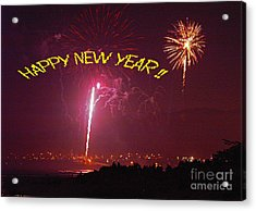 Acrylic Print featuring the photograph happy New Year fireworks by Gary Brandes