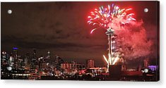 Happy New Year Seattle Acrylic Print by Benjamin Yeager