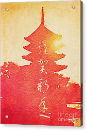 Happy New Year Vermillion Sunset Pagoda Acrylic Print
