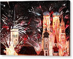 Happy New Year - With Fireworks In Munich Acrylic Print by M Bleichner