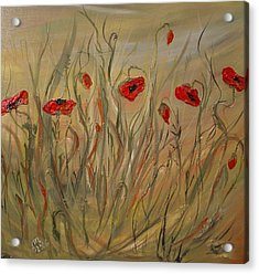 Acrylic Print featuring the painting Happy Poppies by Dorothy Maier