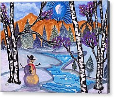 Happy Snowman Acrylic Print by Connie Valasco
