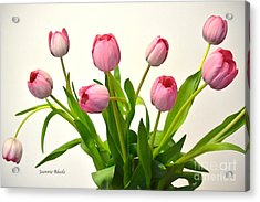 Acrylic Print featuring the digital art Happy Spring Pink Tulips 2 by Jeannie Rhode