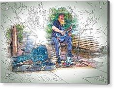Happy The Busker Acrylic Print by John Haldane