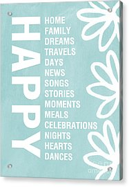 Happy Things Blue Acrylic Print